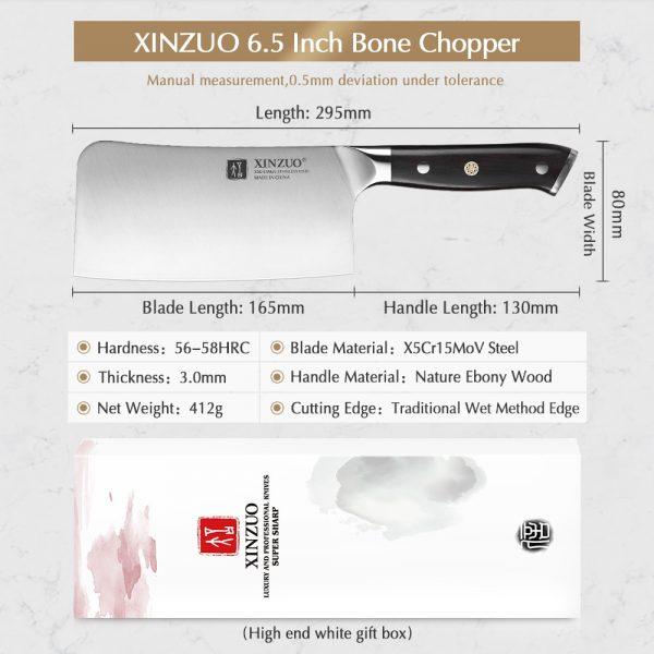XINZUO High Carbon X5Cr15Mov Cleaver Meat Chopper Knife 6.5'' inch [Ebony Handle]
