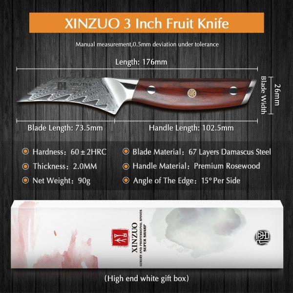 "XINZUO Ergonomic Japanese Paring Knife 3"" inch [VG-10 Damascus Steel Mosaic Rivet Rosewood Handle]"