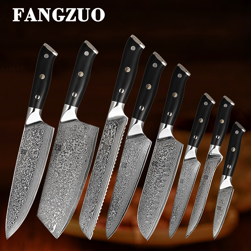 FANGZU 8PCS Japanese Premium Kitchen Knives Sets 67 Layers vg10 Damascus Stainless Steel Knife
