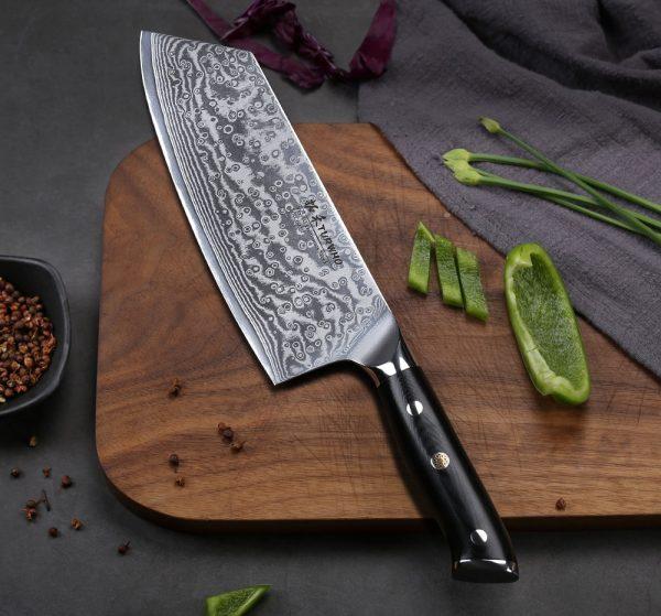 TURWHO Japanese 67 Layers VG10 Damascus Steel Nakiri Vegetable knife with G10-Handle