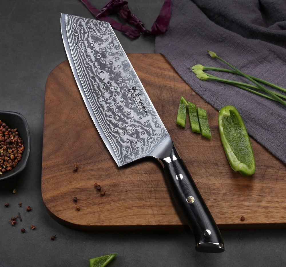 TURWHO Japanese 67 Layers VG10 Damascus Steel Nakiri Vegetable knife with G10-Handle