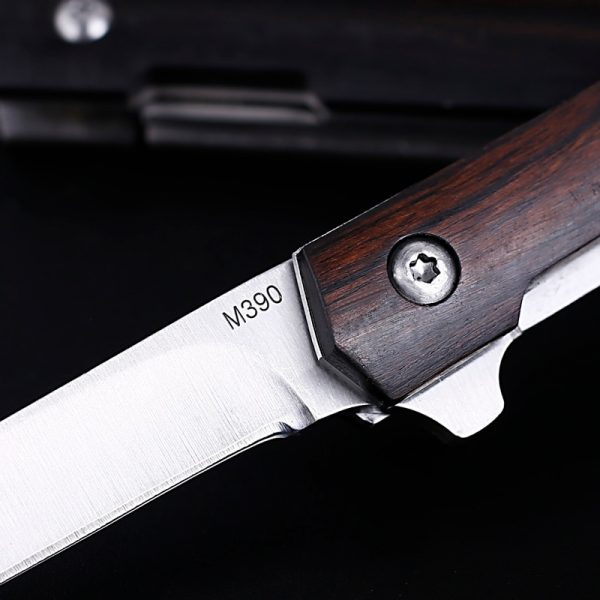 M390 blade Drop Point Silver 58HRC Handle Folding Knife [outdoor camping hunting knife]