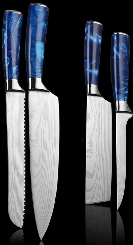 GEMOTU 7 layers Japanese laser Damascus kitchen knife & Knife Sets