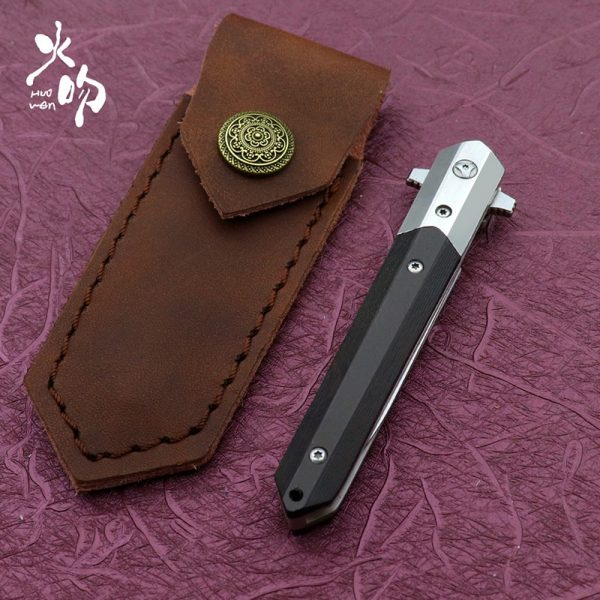 HUOWEN Flipper ball bearing Tactical folding knife M390 steel blade Survival Pocket knives With Wood handle hunting Small EDC tools