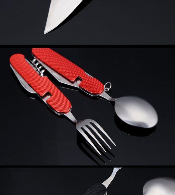 Multi Function Folding Knife Fork Spoon Corkscrew Opener Group Combine Outdoors Tourism Tableware [EDC Tool Knife]