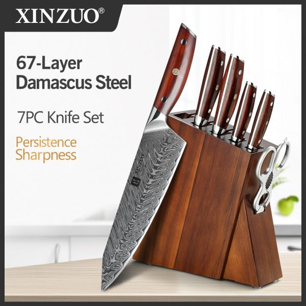 XINZUO 7 PCS Kitchen Knives Sets Damascus Steel Chef Knife Sets Stainless Steel Kitchen Scissors Acacia Wood Knife Block Holder