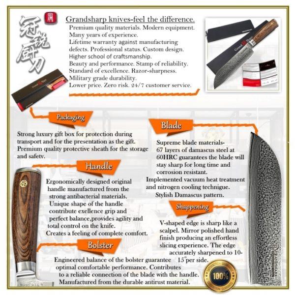 Japanese vg10 Damascus Steel 67 layers Santoku Knife [Grandsharp Premium Quality NEW]