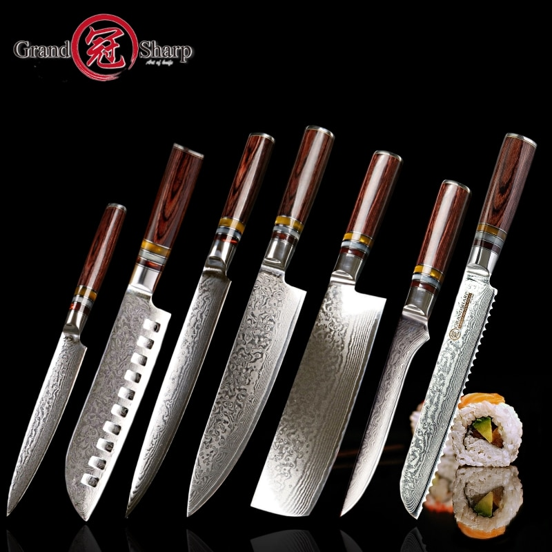 Grandsharp 7 pcs VG10 Japanese Damascus steel knife set [Best family gift]