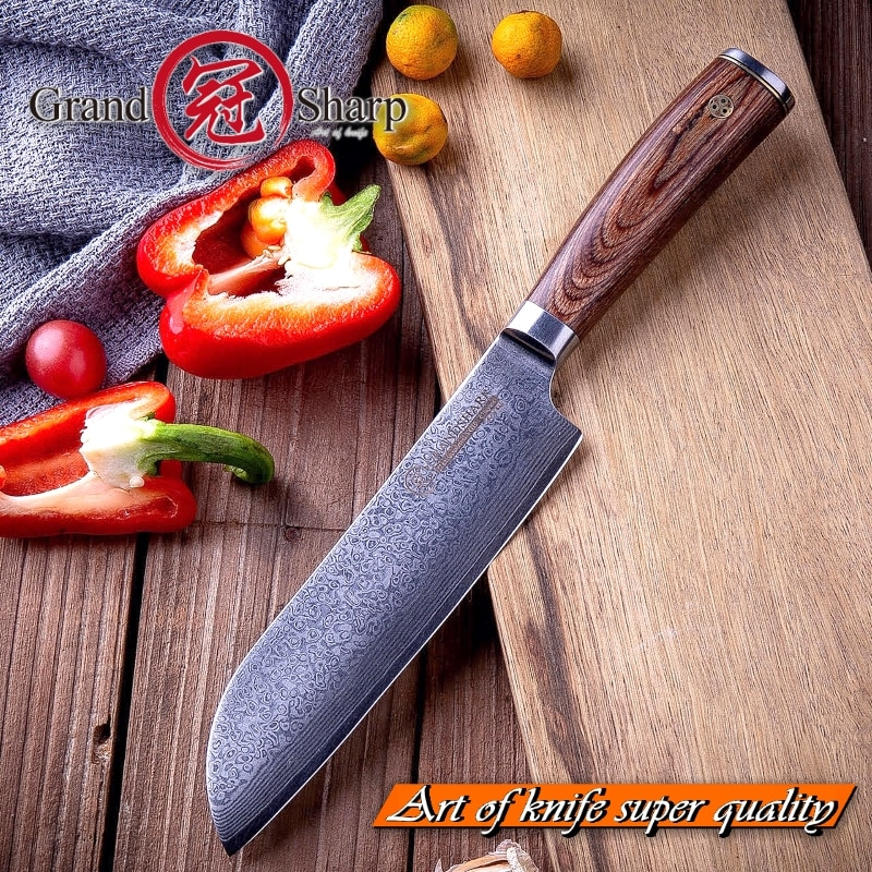 Japanese vg10 Damascus Steel 67 layers Santoku Knife [Grandsharp Premium Quality NEW]