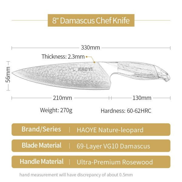 Japan VG10 damascus steel 8 inch chef knife handcraft hammer with rosewood handle for individual master cooking