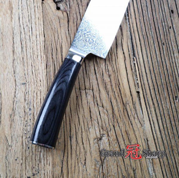 GRANDSHARP Nakiri Knife Damascus Japanese Stainless Steel VG-10 Vegetables Knife 7 Inch