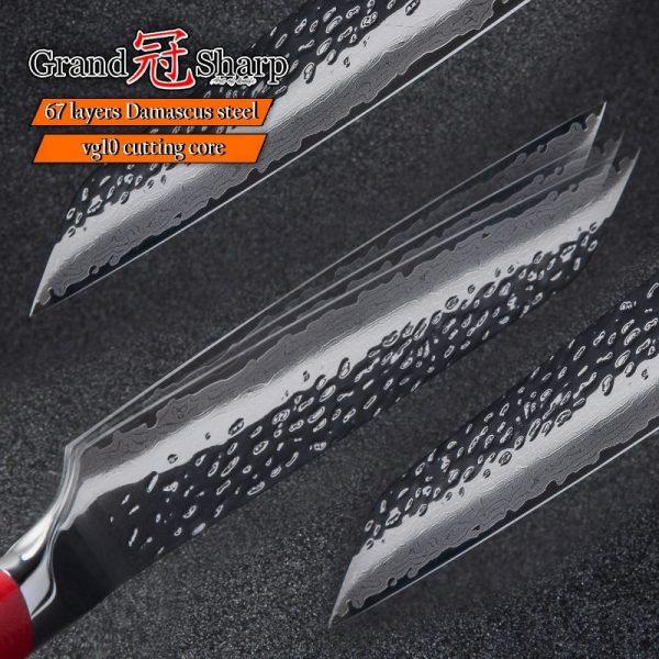 New Red Icon Japanese Damascus Stainless VG10 Kiritsuke Knife 8.5 Inch