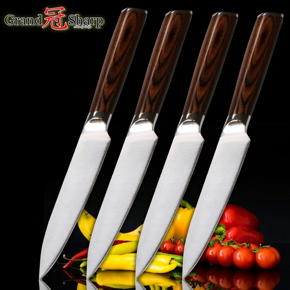 4 Pcs Steak Knife Sets for Home Kitchen [GERMAN DIN1.4116 Molybdenum Steel Kitchen Utility Knives BBQ Tools With Gift Box NEW]