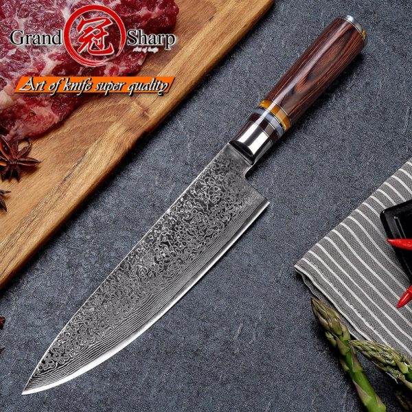 GRANDSHARP 67 Layers Japanese Damascus Chef Knife VG-10 Blade & Pakka Wood Handle PRO Knives NEW