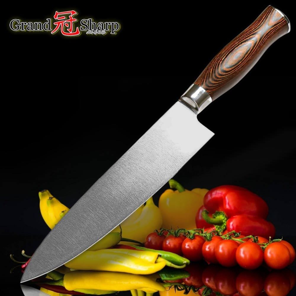 "JKR Professional 8""(Inch) Japanese Style Chefs Knife [Stainless Steel Pakkawood Handle] Value Knife"