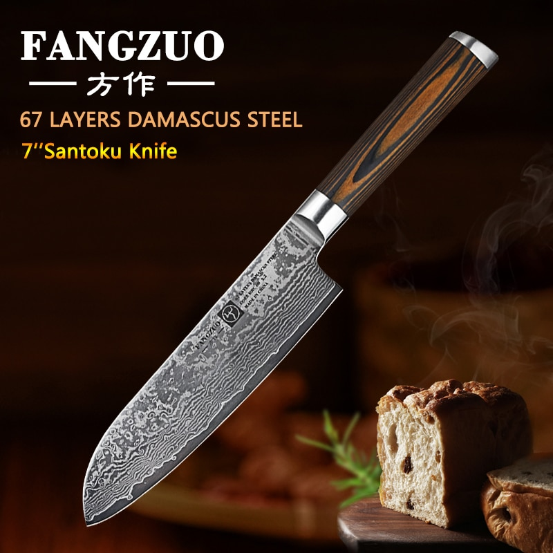 """FANGZUO 7"""" Damascus Santoku Knives Stainless steel head colored wood handle Japanese Style Kitchen Chef Knife"""