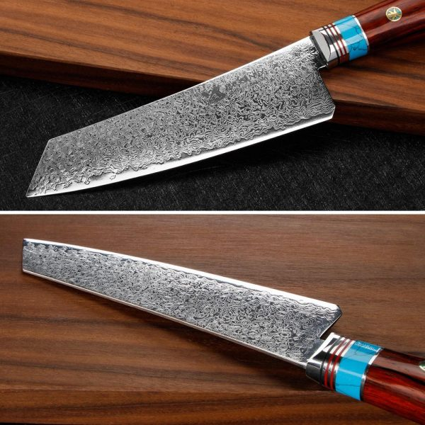 BIGSUNNY Damascus Stainless Kiritsuke Knife [Vacuum Treated Razor Sharp 6.7Inch Chef Knife]