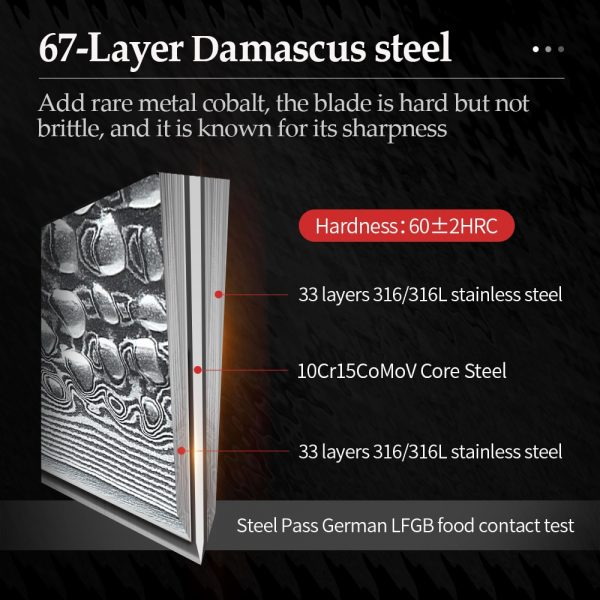 XINZUO Japanese Damascus Steel Kitchen Knife Set Sharp 5Pcs Chef Chopping Knives Set