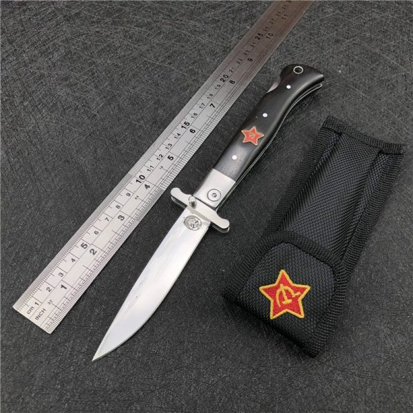 Russian Finka NKVD KGB EDC Manual Folding Pocket knife black and white resin handle 440C blade Mirror Finish knife