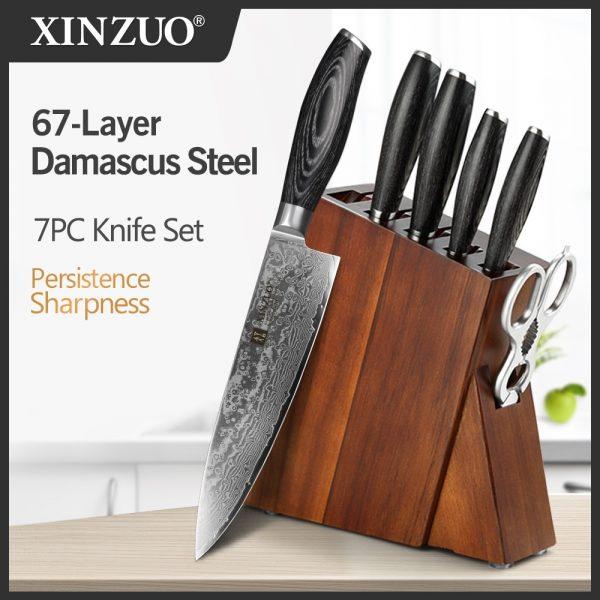XINZUO 7 PCS Knives Sets Damascus Steel Pakka Wood Handle Multifunctional Chef Knife Block Kitchenware Set