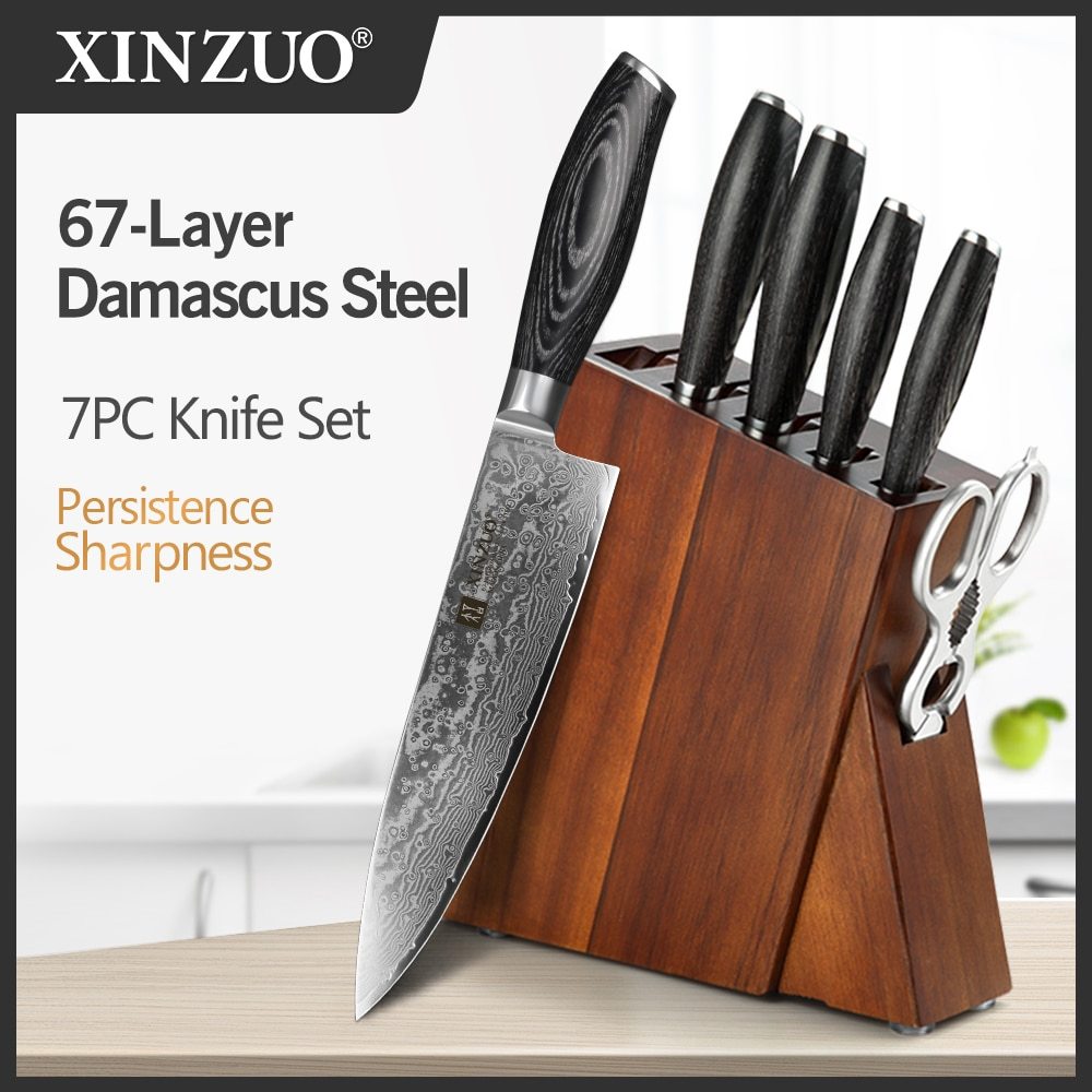 XINZUO 7 PCS Knives Sets Damascus Steel Pakka Wood Handle Multifunctional Chef Knife Block Kitchenware Set