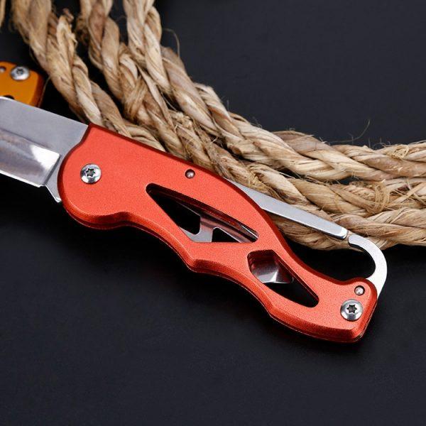 Carabiner Survive Hunting EDC Folding Pocket Knife 58HRC Blade Camp Hike Multi Tool