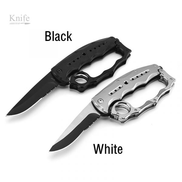 Muti-function Folding Knife Brass knuckles shape outdoor knife camping self-defense tool knife [stainless steel knife]