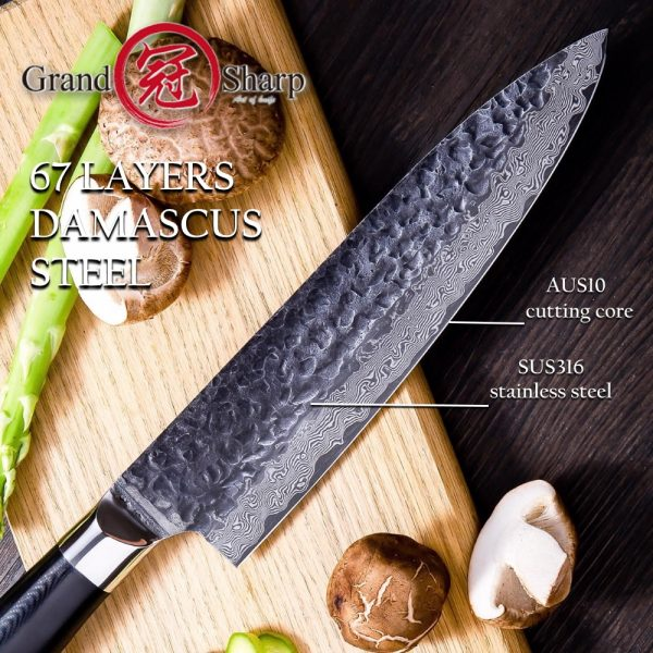 Japanese AUS10 Black Hammered Finish Professional 8 Inch Chef Knife for Premium Chef
