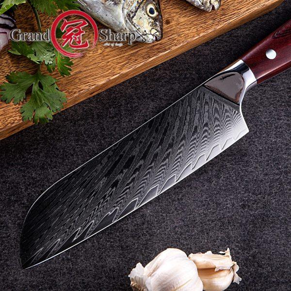 "NEW Japanese Santoku Knife 6.9"" Japanese Damascus vg10 Steel Chef Kitchen Knife With Protective Sheath Gift Box"