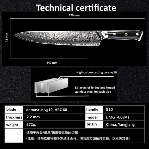 GRANDSHARP 9.5 Inch Damascus Chef Knife 67 Layers VG-10 Steel Japanese Damascus Kitchen Knife Japanese Slicing Cooking Tools NEW