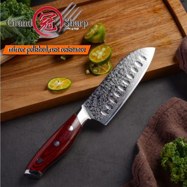 Premium 5 Inch Japanese Santoku Knife VG10 Damascus Steel Full Tang All purpose Knife