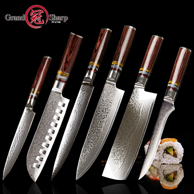 6 PCS Japanese Damascus kitchen knife set VG10 stainless steel Premium Knife Set