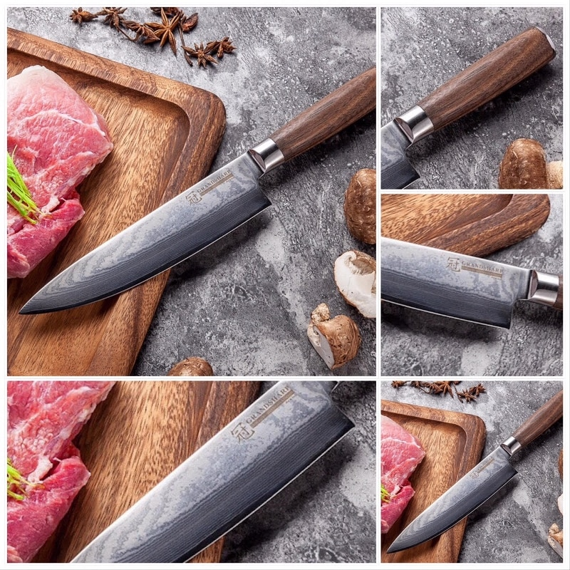 Professional Japanese Damascus Kitchen Knives 67 Layers Steel Chef's Knife [Natural Walnut Handle]