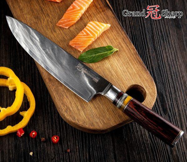 Grandsharp 7 pcs VG10 Japanese Damascus steel knife set [Best family gift]
