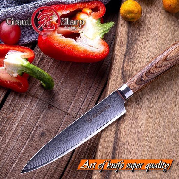Japanese Utility Knife VG10 Japanese Damascus Steel Chef Utility Kitchen Knives best for Peeling