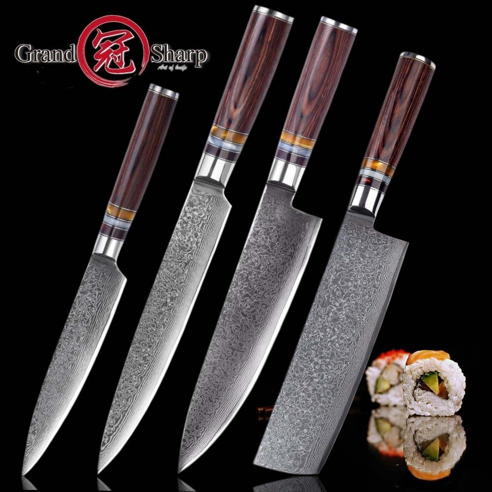 GRANDSHARP NEW (2021) 4 Pcs Japanese Chef Knife Set [Japanese Damascus vg10 Steel Kitchen Knives For Best Gift]