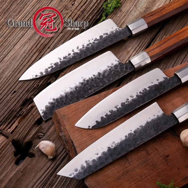 Handmade NEW 4 Pcs Kitchen Knife Set High Carbon Steel Chef [ECO Friendly Professional Chef Knife]