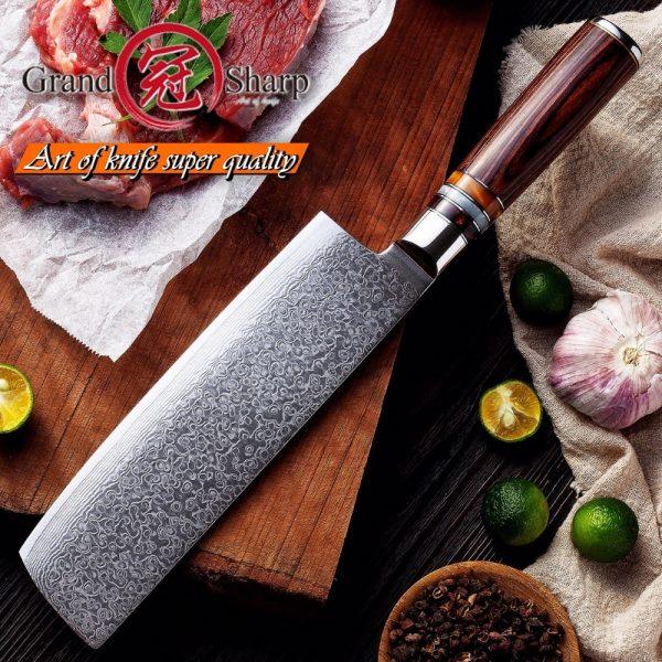 Nakiri Knife 7 Inch 67 Layers Japanese Damascus Stainless Steel Asian Kitchen Knife Chef