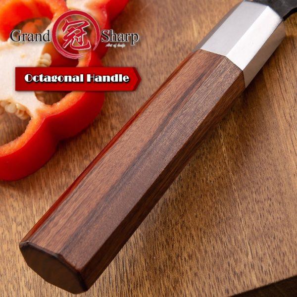 Grandsharp PRO Handmade Japanese Kitchen 4cr13 High Carbon Steel Gyuto Knife [African Wood Handle]
