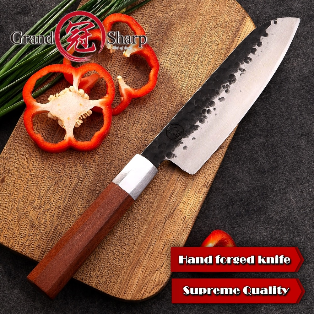Handmade Kitchen Japanese High Carbon Steel Santoku Knife 7 Inch