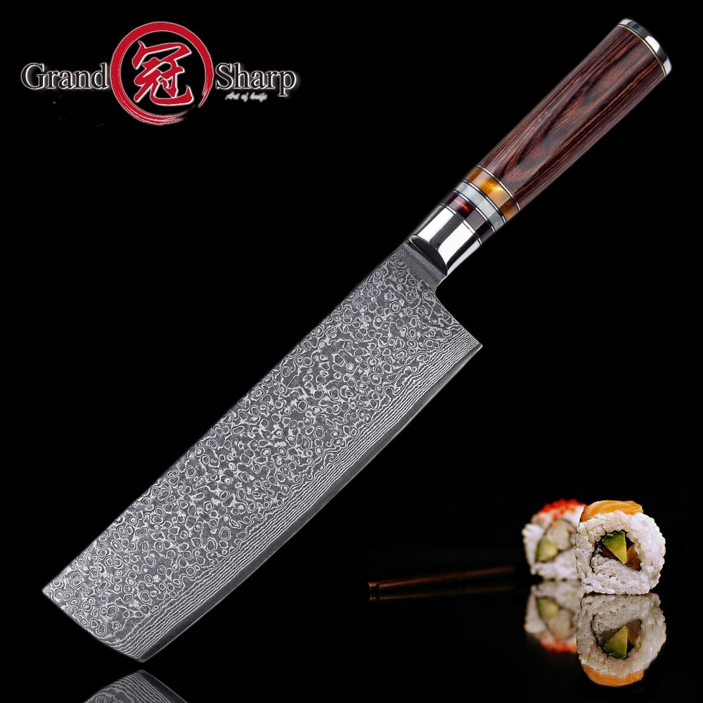Nakiri Knife 7 Inch 67 Layers Japanese Damascus Stainless Steel Asian Kitchen Knife Chef