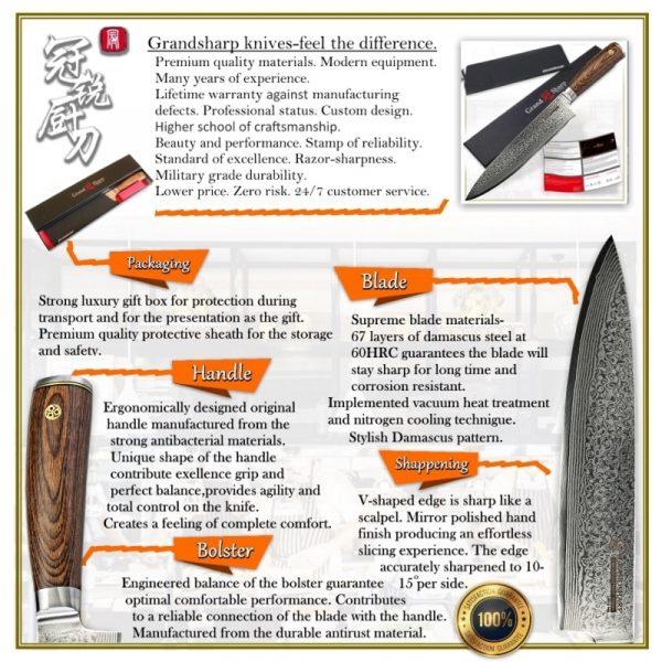 4 PCS Japanese Damascus Knife Set vg10 Japanese Damascus Steel Chef Wooden Handle HRC 60-62