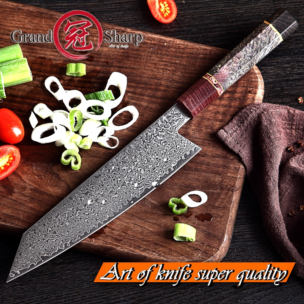 JKR Japanese Damascus Steel 67 layers ECO Friendly Chef Knife 8 inch [Wood Handle] Best for Sushi Making