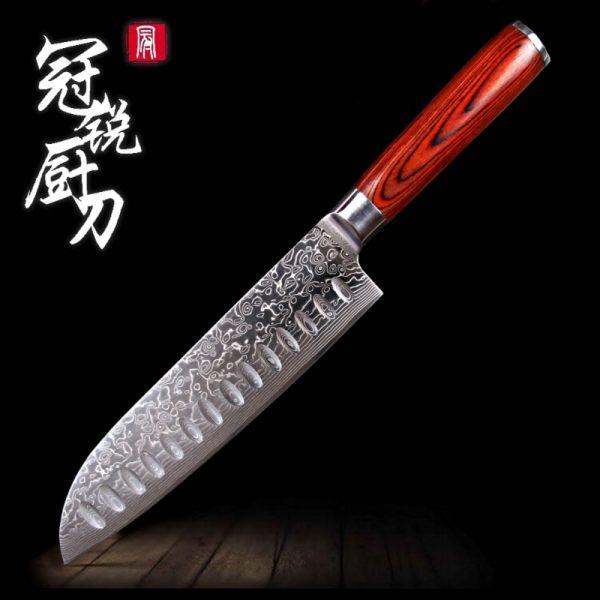 Razor Sharp Japanese Damascus Steel vg10 Kitchen Knife [Premium Wooden Handle]