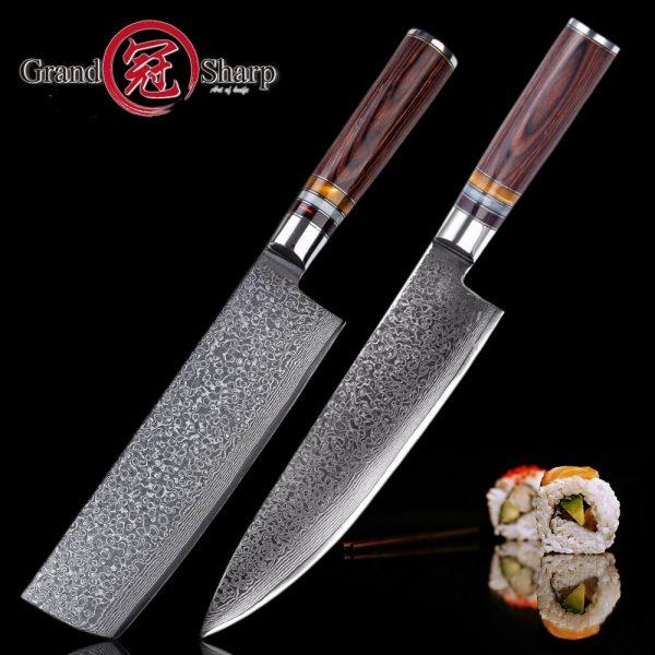 Premium 2pcs Knife Set Japanese Damascus vg10 Steel Chef Nakiri /Chef Kitchen Knives