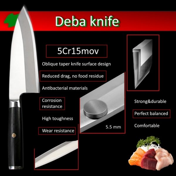 High Quality Stainless Japanese Deba Fish Fillet knife for Professional Chef