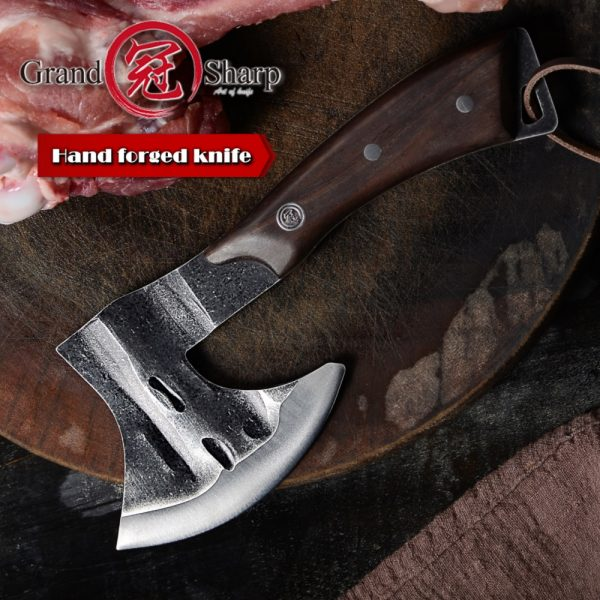Hand Forged Axe Chef's Boning Knife Fire Hatchet Tomahawk Camping Outdoor knife