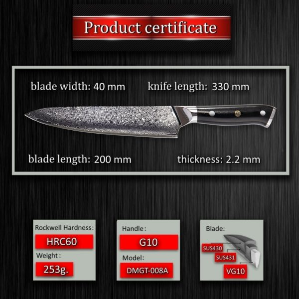 GRANDSHARP 8 Inch Professional Chef Knife 67 Layers Japanese Damascus Stainless Steel VG-10 Core Kitchen Tools G10 Handle