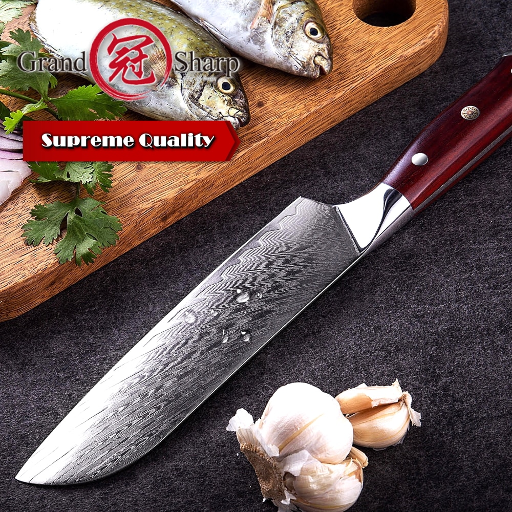 "NEW Japanese Santoku Knife 6.9"" Japanese Damascus vg10 Steel Chef Kitchen Knife With Protective Sheath Gift Box"